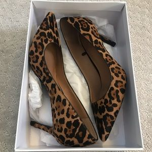 Real leather leopard heels
